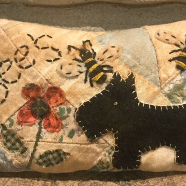 Primitive *Bee's* Scottie Dog Shelf Pillow-Made From Vintage Quilt