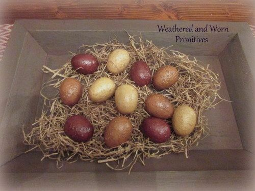 "Primitive Country Burgundy, Mustard & Ivory Easter Eggs 2"" Long - Set of 12"