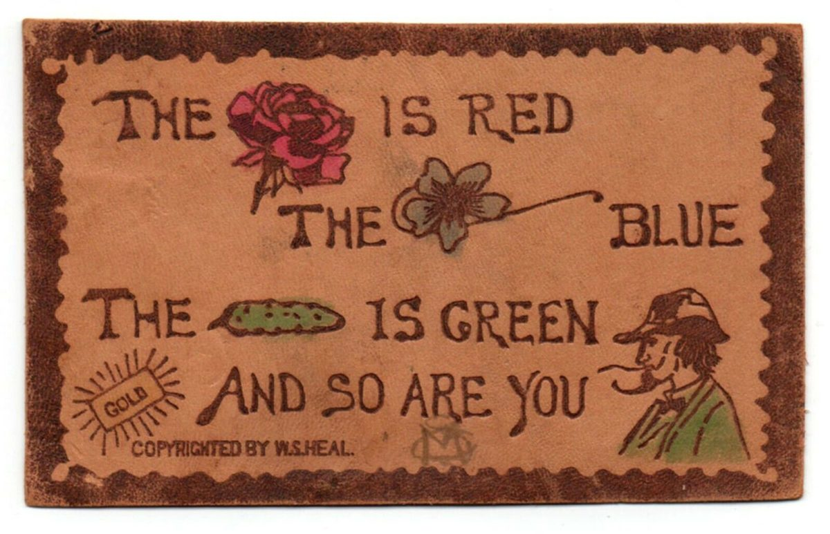 """Antique Leather Postcard, """"The Rose Is Red....""""  W.S.Heal, 1906, Brooklyn, NY"""
