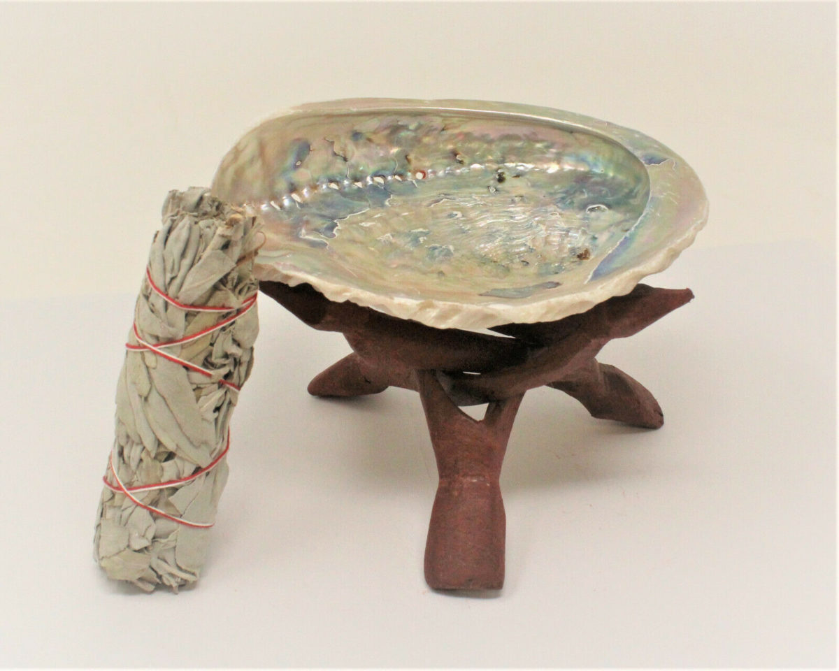 """LARGE LIGHT Abalone Shell 5-6"""" with Stand White Sage Smudge Stick (Smudging Kit)"""