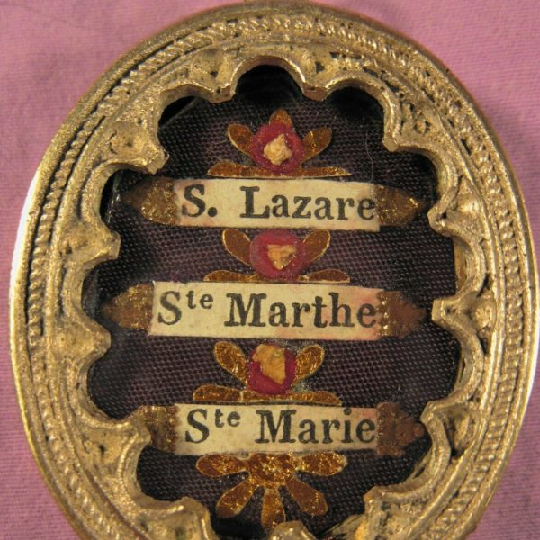 ANTIQUE THECA CASE WITH THE RELICS OF 3 SAINTS- ST.LAZARUS & HIS SISTERS.