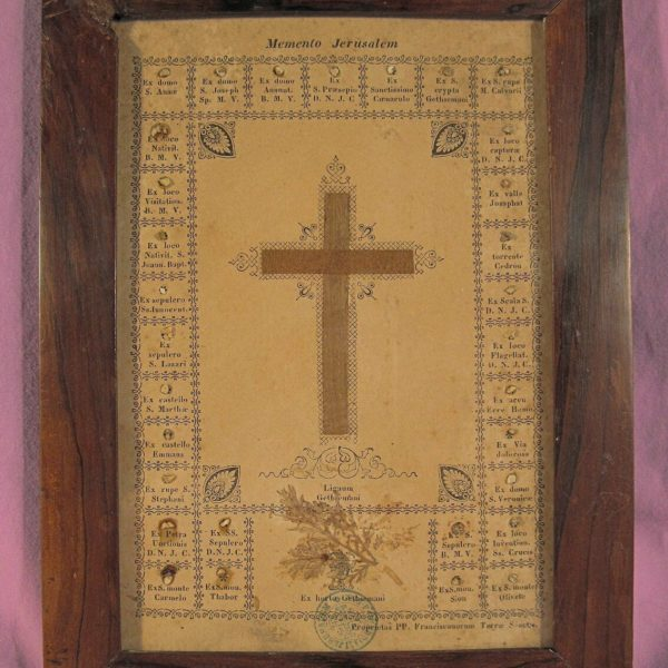 ANTIQUE FRAMED DOCUMENT WITH 33 RELICS FROM THE HOLY LAND - ORDER OF JERUSALEM.