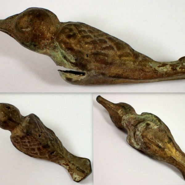 "ESTATE Antique Ancient Brass Bird Figure Artifact Dig Display Item 2 3/8"" Long"
