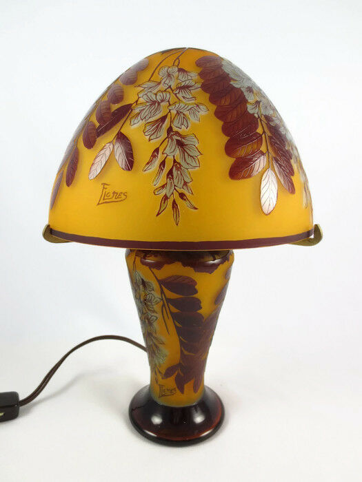 Vintage Reproduction French Cameo Art Glass Boudoir Lamp Signed Flores