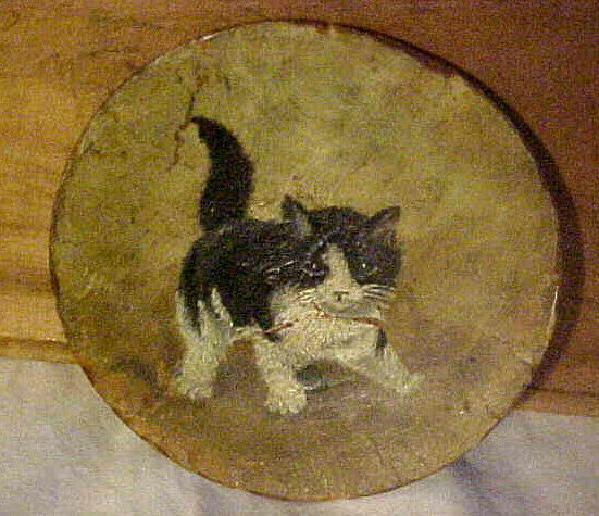 RARE Antique 1880s Folk Art Paper Mache Kitten Plate Painting AAFA Primitive Cat