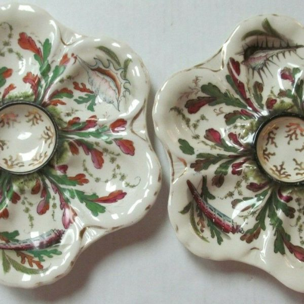 Oyster plates PAIR Seashells Green red seaweed Coral center Gold gilt Hand paint