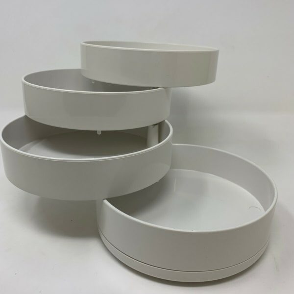 Vintage White Plastic Expanding Organizer Jewelry Box Catchall Kartell Style