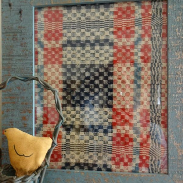 Primitive Early Antique Coverlet Framed Early Old Blue AAFA
