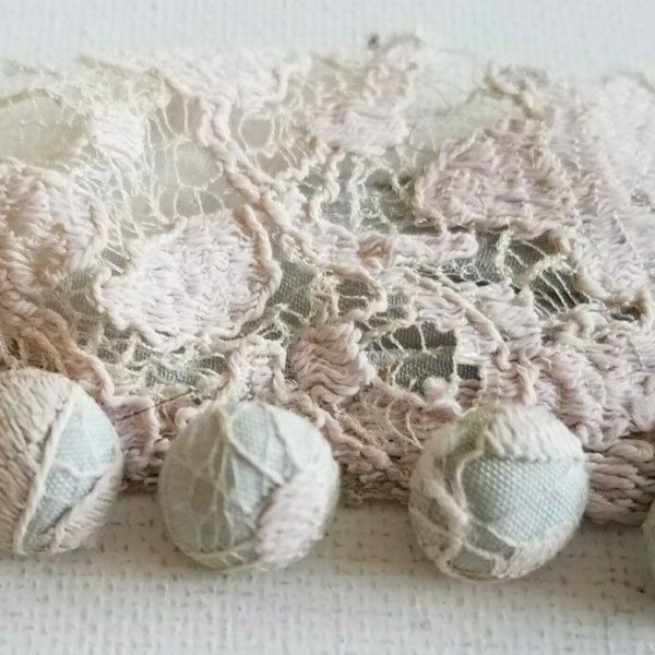 Antique Lace Covered Buttons Sewing VTG Craft Lot Pale Blue Dress Remnant