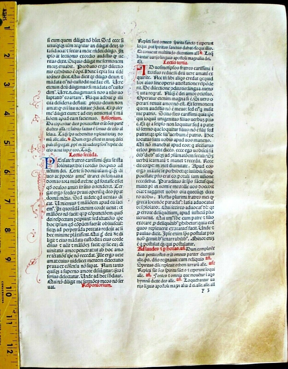 Extremely rare incunabula,Breviary leaf on vellum,handpt.initials,Jenson,1478#1H