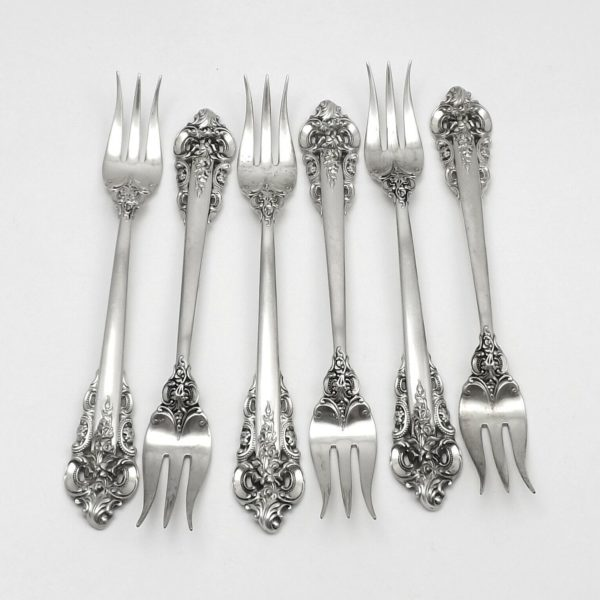 Wallace Grand Baroque Sterling Silver Cocktail Seafood Forks Set Of 6
