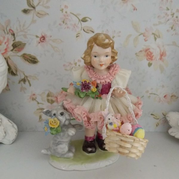 VTG. GERMANY GIRL IN PINK DRESS W/ DOG & EASTER BASKET DRESDEN LACE FIGURINE