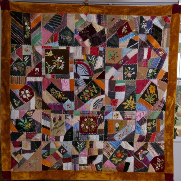 Antique American large Crazy Quilt, embroidered flowers, rust border, dated 1887
