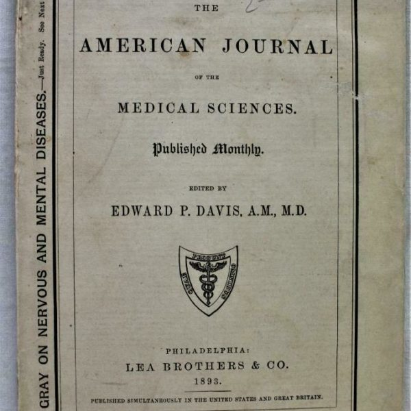 THE AMERICAN JOURNAL OF THE MEDICAL SCIENCES JANUARY 1893 VINTAGE MEDICINE