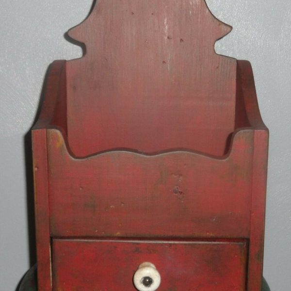 Wall/Candle/Salt/Spice Box-Red Paint-Primitive Painted-Vintage/Drawer-Cabinet
