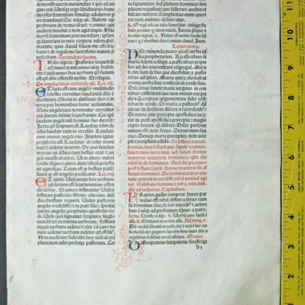 Extremely rare incunabula,Breviary leaf on vellum,handpt.initials,Jenson,1478#5N