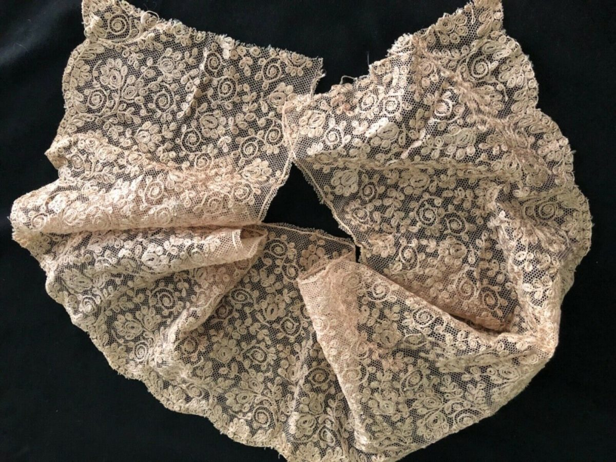ANTIQUE VINTAGE LACE MATERIAL FABRIC SCALLOPED EDGING TRIM  CRAFTS SEWING