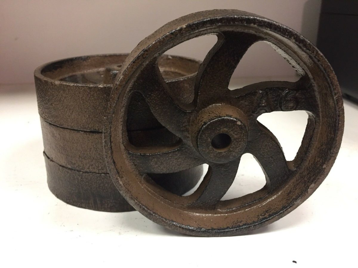 """Lot Of 4 Cast Iron 6 Spoke Wheels 4.5"""" Cart Industrial A6 Antique Style"""