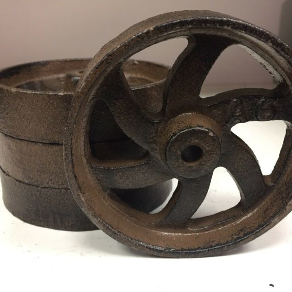 "Lot Of 4 Cast Iron 6 Spoke Wheels 4.5"" Cart Industrial A6 Antique Style"