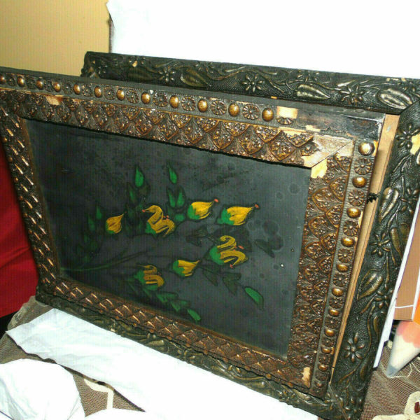 Antique Victorian 1800s-Gorgeous Rare Floral Wooden Magazine Wall Rack Holder