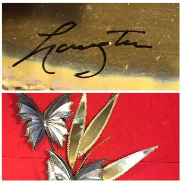 Signed Brutalist Copper Brass Leaves And Butterfly's Wall Hanging Sculpture.
