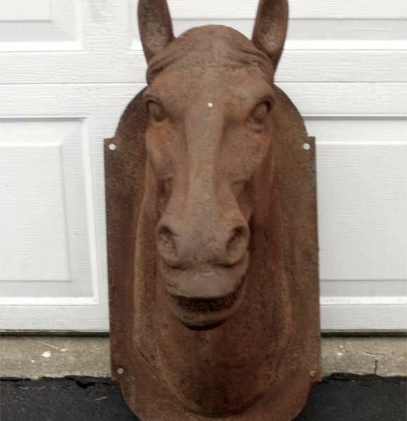 """Huge Rustic Horse Head Mount 29"""" High Reproduction Cast Iron Rust"""