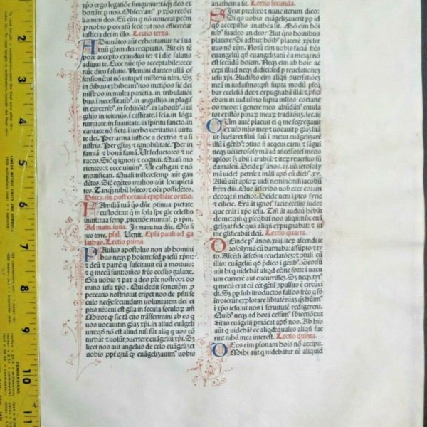 Extremely rare incunabula,Breviary leaf on vellum,handpt.initials,Jenson,1478#6N