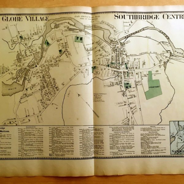 Original 1870 Map GLOBE VILLAGE Southbridge Centre MA Massachusetts 2-Page BEERS
