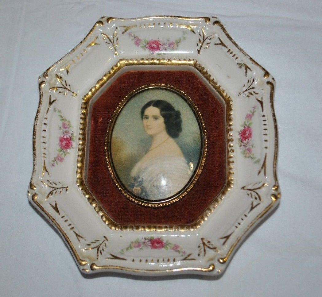 Porcelain Frame  With Antique Portrait Pictures 7 x 6.5 in