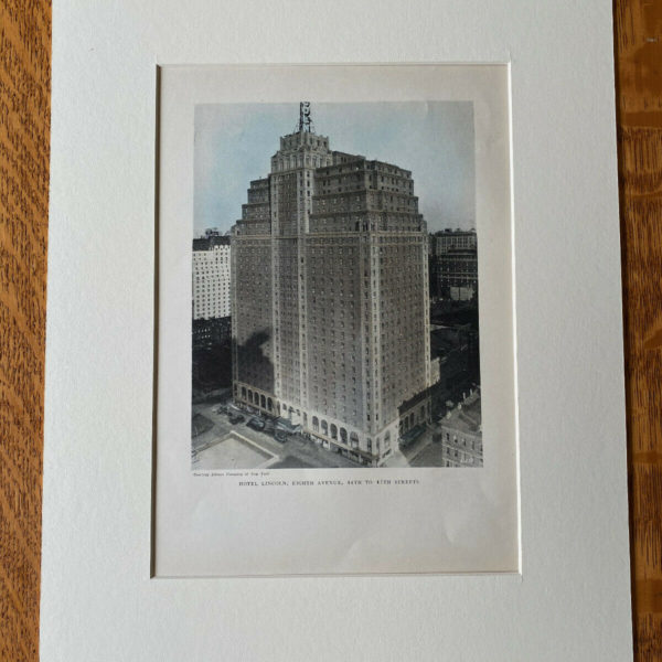 Hotel Lincoln (now Row NYC), 8th Avenue, New York, 1929, Hand Colored Original
