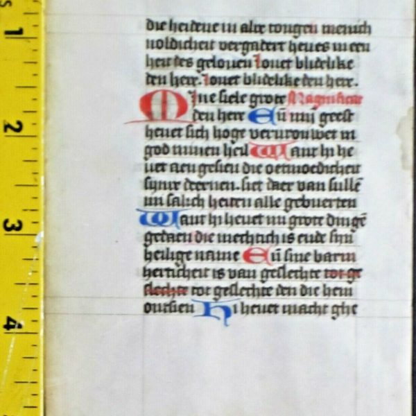Rare vellum manuscript leaf in vernacular Dutch,red&blue initials,ca.1470