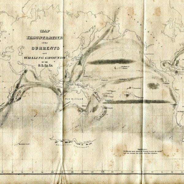 1841 MAP CURRENTS AND WHALING GROUNDS OFF WEST COAST BY US EXPLORING EXPEDITION