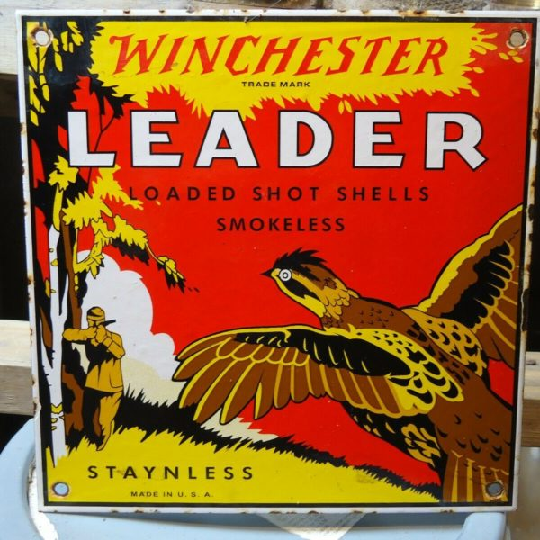 "VINTAGE WINCHESTER ""LEADER"" PORCELAIN ADVERTISING SIGN STAYNLESS SHOT SHELLS"