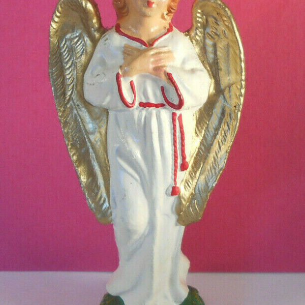 Vtg Italian Nativity Angel figurine statue-made Italy-golden wings-Christmas