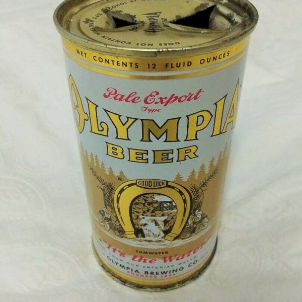 Vintage 12oz Olympia Beer Flat Top Can Single Faced With Cool Vanity Lid Top