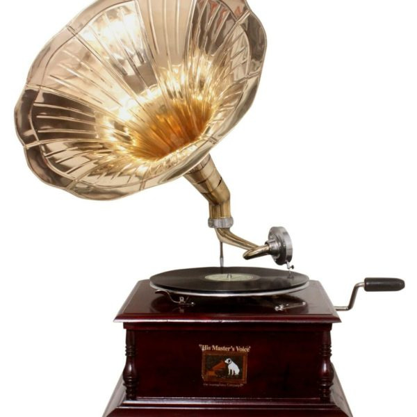 Replica Gramophone Player 78 rpm phonograph Brass Horn HMV Vintage Wind Up
