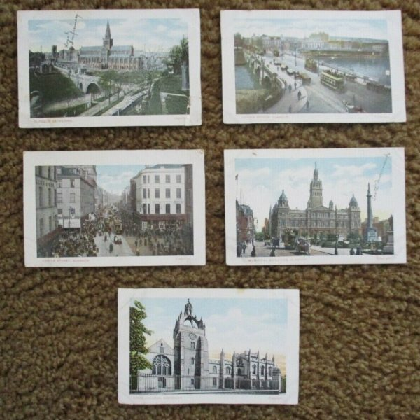 LOT OF 5 VINTAGE (EARLY 1900'S) GLASGOW SCOTLAND POSTCARDS