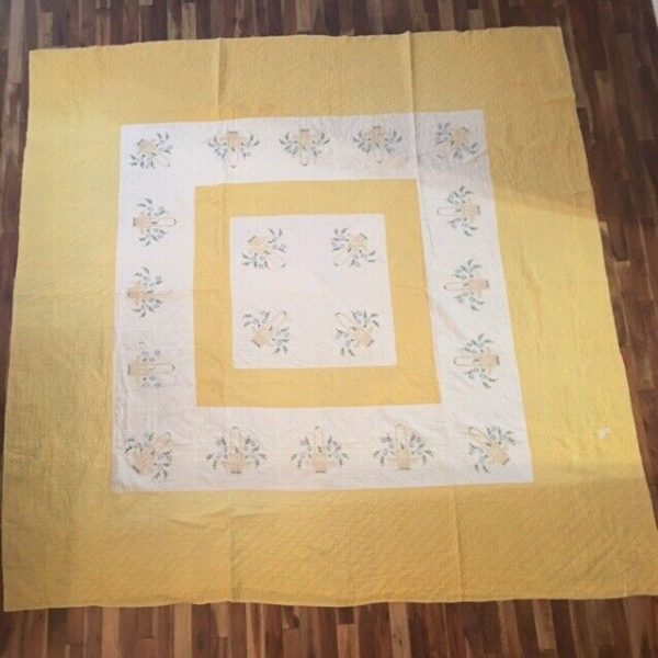 """c1940's Vintage Hand & Machine Quilted Quilt Yellow Floral Basket (80""""x80"""")"""