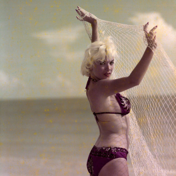 Bunny Yeager Color Transparency Photograph Lori Shea Beach Bikini Fishing Net