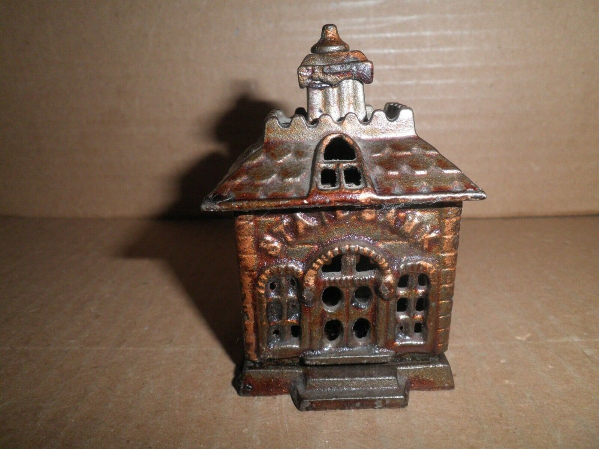 Great old original cast iron tiny State Bank building still bank by Kenton 1890