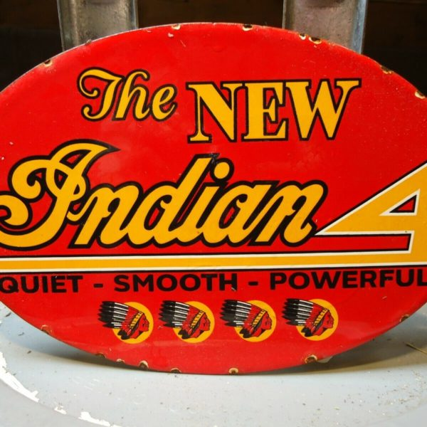 VINTAGE 1950'S INDIAN 4 MOTORCYCLE PORCELAIN ADVERTISING WOOD DOOR SIGN CHIEF