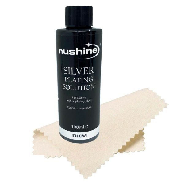 NUSHINE SILVER PLATING SOLUTION 100ml CLOTH KIT - PLATE METAL W/ REAL SILVER