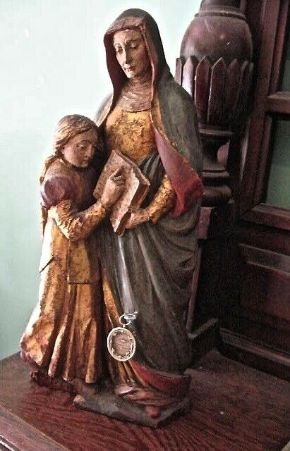 Estate Sale Find: Antique (LATE 1800's) hand-carved St. Anne Statue with relic
