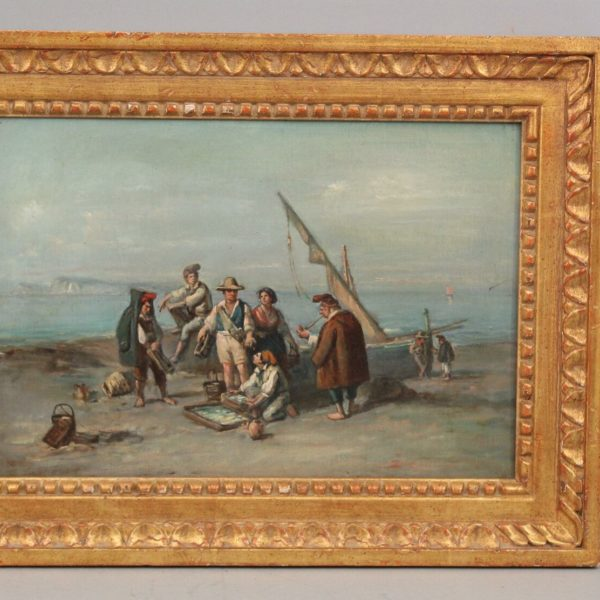 Early 19thC Antique French Maritime Genre Oil Painting of Fishermen