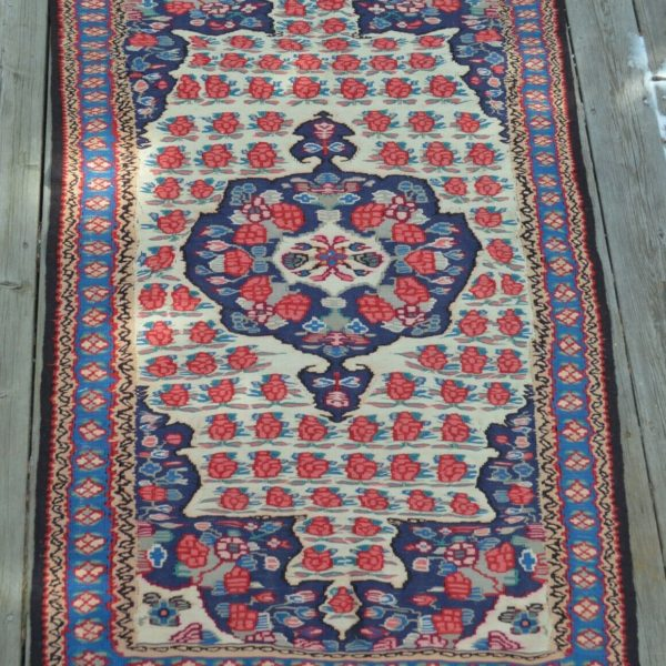 "Old Oriental Fine Senneh Kilim Rug 3' 3"" x 5' Roses Great Border Ready for Use"