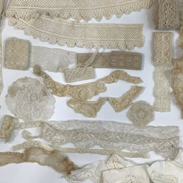 Lot Antique Victorian Lace Trim Edging 1880 1910 Collar Cuffs Vintage Sewing