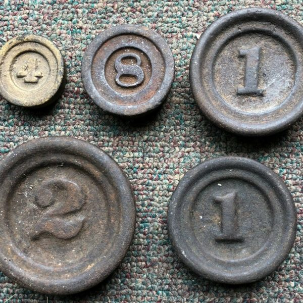 Set of 5 Antique Stackable Nesting Mercantile Weights