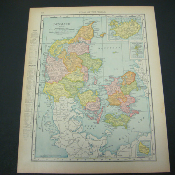 1914 Rand McNally Atlas Map Page Denmark Norway Sweden Color Suitable To Frame