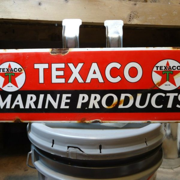 VINTAGE OLD 1960'S TEXACO MARINE PRODUCTS PORCELAIN GAS STATION SIGN