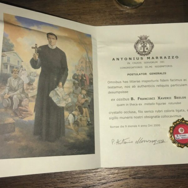 Authentic Relic Of Blessed Francis Xavier Seelos w/ Documents & Reliquary, Holy